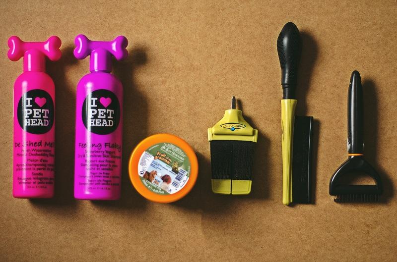 Kosmetyki do pielęgnacji psa rasy border collie. Szampon, odżywka, maska, grzebień, pudlówka oraz trymer hakowy.