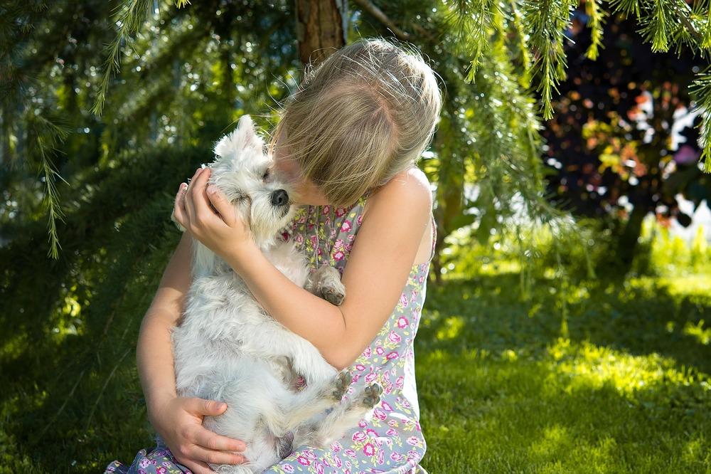 Dziewczynka przytula młodego westa. Siedzą na polanie w lasku.
