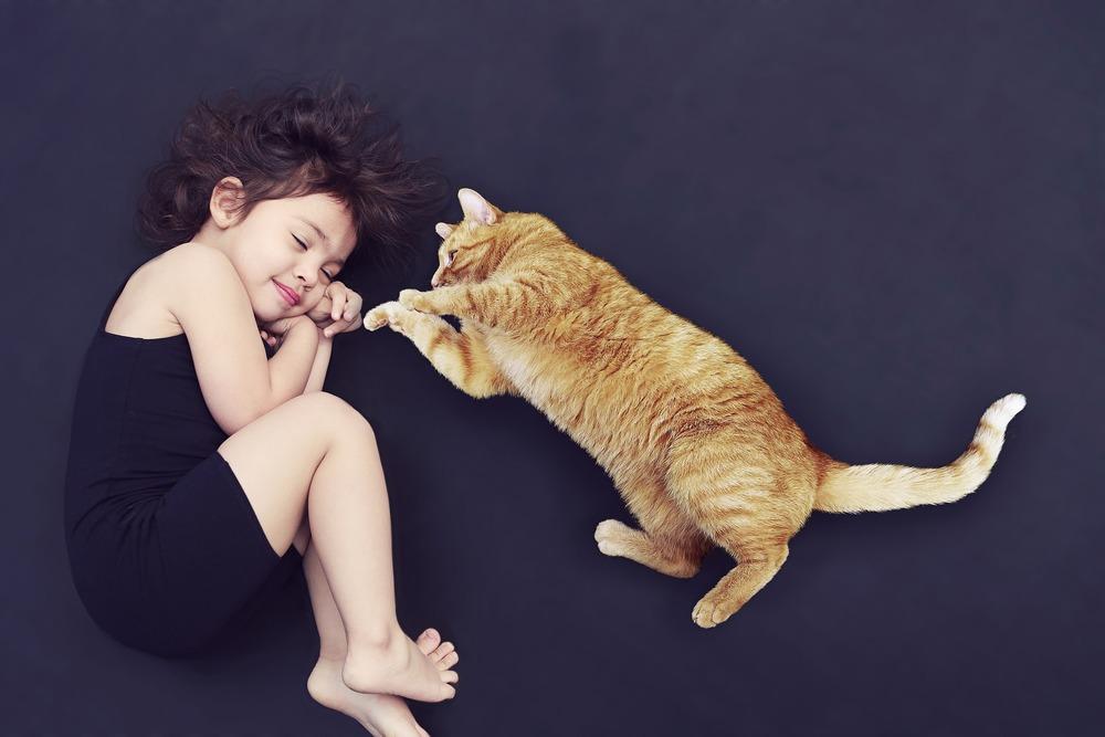 Kot leży obok leżącej małej dziewczynki, kot próbuje ją zaczepiać do zabawy.