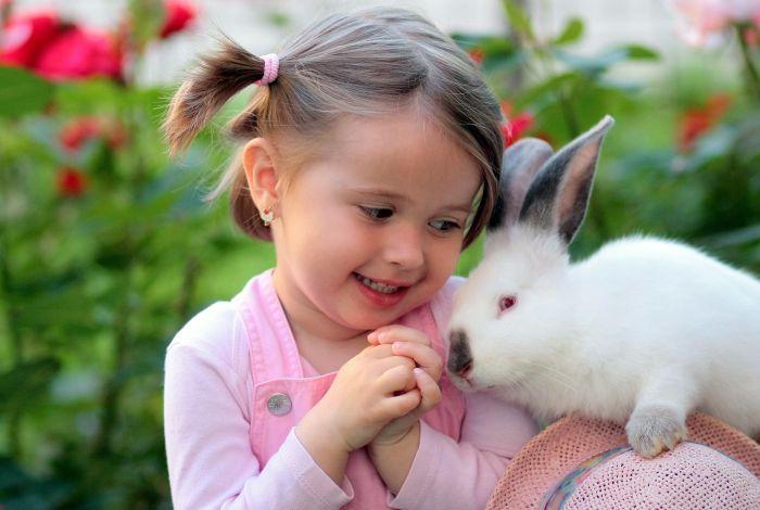 Dziewczynka zachwyca się królikiem miniaturką.