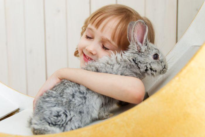 Dziewczynka przytula się do królika.