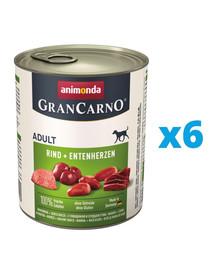ANIMONDA GranCarno zestaw z wołowiną i kaczymi sercami 6 x 800 g