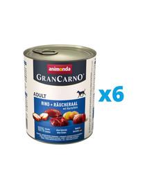 ANIMONDA GranCarno zestaw z wołowiną i węgorzem wędzonym i ziemniakami 6 x 800 g
