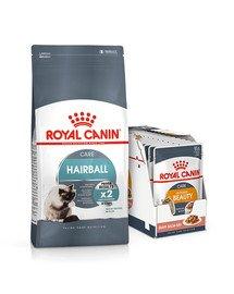 ROYAL CANIN Hairball Care 10 kg + mokra karma Intense BEAUTY w sosie 85 g x 12