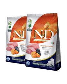 FARMINA N&D GF Pumpkin Lamb & Blueberry Puppy Medium & Maxi 24 kg (2 x 12 kg)