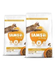 IAMS for Vitality dla kotów z problemem kul włosowych ze świeżym kurczakiem 20 kg (2 x 10 kg)