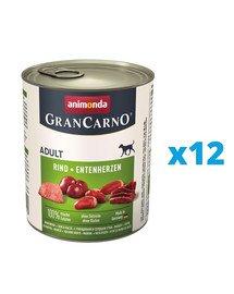 ANIMONDA GranCarno zestaw z wołowiną i kaczymi sercami 12 x 800 g