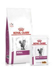 ROYAL CANIN Renal Feline 4 kg sucha karma + karma mokra Renal Feline kurczak 12 x 85g