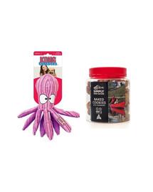 KONG Zestaw świąteczny Zabawka ośmiornica + ciasteczka z żurawiną dla psa 220 g