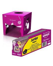 WHISKAS Junior Potrawka saszetka 28x85g - mokra karma dla kotów z kurczakiem w galaretce + domek dla kota