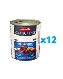 ANIMONDA GranCarno zestaw z wołowiną i węgorzem wędzonym i ziemniakami 12 x 800 g