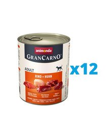 ANIMONDA GranCarno zestaw z wołowiną i kurczakiem 12 x 800 g