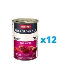 ANIMONDA GranCarno zestaw z wołowiną i sercami 12 x 800 g