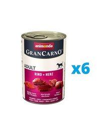 ANIMONDA GranCarno zestaw z wołowiną i sercami 6 x 800 g