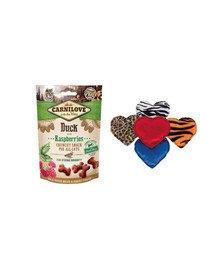 CARNILOVE Zestaw świąteczny Przysmaki z kaczką 50 g + pluszowe serce z walerianą