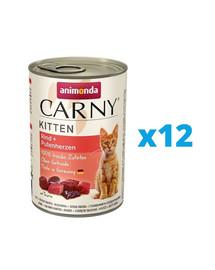ANIMONDA Carny Kitten zestaw Wołowina/Serce Indyka 12 x 400 g