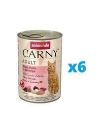 ANIMONDA Karma Carny Adult zestaw indyk, kurczak i krewetki 6 x 400 g