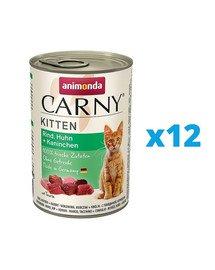 ANIMONDA Carny Kitten zestaw Wołowina/Kurczak/Królik 12 x 400 g