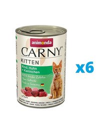 ANIMONDA Carny Kitten zestaw Wołowina/Kurczak/Królik 6 x 400 g