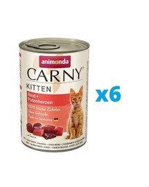 ANIMONDA Carny Kitten zestaw Wołowina/Serce Indyka 6 x 400 g