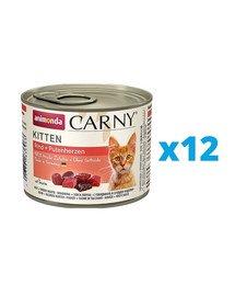 ANIMONDA Carny Kitten zestaw Wołowina/Serce Indyka 12 x 200 g
