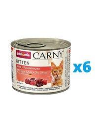 ANIMONDA Carny Kitten zestaw Wołowina/Serce Indyka 6 x 200 g