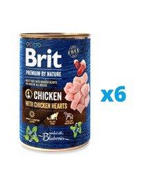 BRIT Premium by Nature Chicken&Hearts karma mokra dla psa z kurczakiem 6 x 400 g