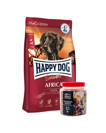 HAPPY DOG Supreme africa 12.5 kg + przysmaki treningowe ze strusiem 300 g