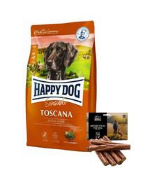 HAPPY DOG Supreme toscana 12.5 kg + naturalne cygara z kaczką 7 szt.