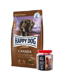 HAPPY DOG Supreme Canada 12,5 kg + przysmaki treningowe z zającem 300 g