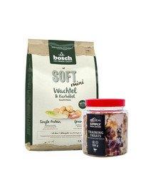 BOSCH Soft mini przepiórka i ziemniak 2,5 kg + przysmaki treningowe ze strusiem 300 g
