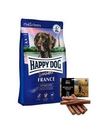 HAPPY DOG Supreme France 12,5 kg + naturalne cygara z kaczką 7 szt.