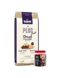 BOSCH Plus Struś & Ziemniak 12,5 kg + przysmaki treningowe ze strusiem 300 g