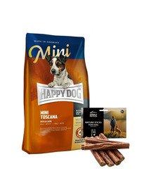 HAPPY DOG Mini Toscana 4 kg + naturalne cygara z kaczką 7 szt.