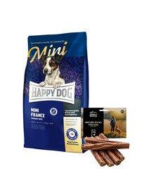 HAPPY DOG Mini France 4 kg + naturalne cygara z kaczką 7 szt.
