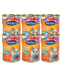 BUTCHER'S Natural&Healthy Cat z pstrągiem kawałki w galarecie 24x400 g