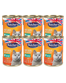 BUTCHER'S Natural&Healthy Cat z rybą morską kawałki w galarecie 24x400 g