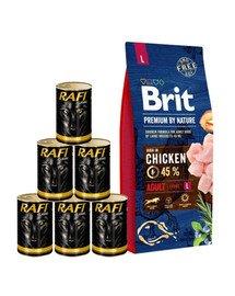 BRIT Premium By Nature Adult Large L 15 kg + mokra karma z drobiem 6x1240 g