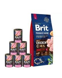 BRIT Premium By Nature Adult Large L 15 kg + mokra karma z indykiem 6x400 g