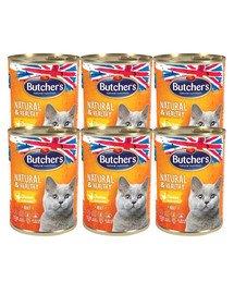 BUTCHER'S Natural&Healthy Cat z kurczakiem kawałki w galarecie 24x400 g
