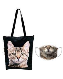 FERA Torba klasyczna na zakupy Kot szary + Maseczka ochronna