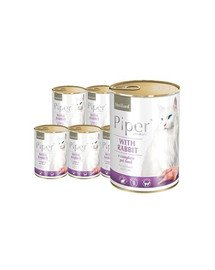 DOLINA NOTECI PIPER Animals z królikiem mokra karma dla kota sterylizowanego 12x400 g