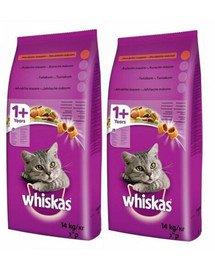 WHISKAS Adult 2x14kg - sucha karma dla kotów z tuńczykiem i warzywami