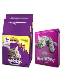 WHISKAS Adult 2x1,4kg - sucha karma dla kotów z kurczakiem + PUSZKA GRATIS