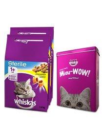 WHISKAS Sterile 2x1,4kg - sucha karma dla kotów po sterylizacji z kurczakiem + PUSZKA GRATIS