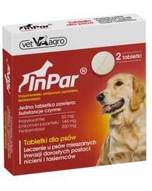InPar Tabletki na odrobaczanie psa pasożyty wewnętrzne 2 tab.