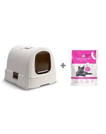 CURVER Kuweta toaleta dla kota beżowa + ARISTOCAT Żwirek silikonowy PREMIUM dla kotów 3.8 l bezzapachowy
