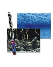 Dwustronne tło do akwarium S 60x30cm korzenie/woda