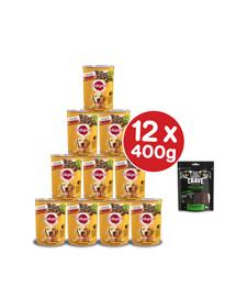 PEDIGREE Adult 12x400g - mokra karma dla psów z wołowiną w galaretce + przysmak CRAVE GRATIS