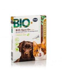 BIO Spot-on krople na kleszcze i pchły dla małych psów i kotów 4x1 g z olejkiem neem